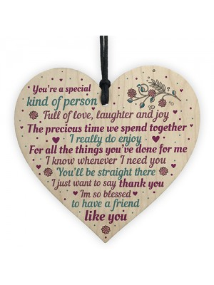 Special Handmade Wood Heart Plaque Gift Best Friend Thank You