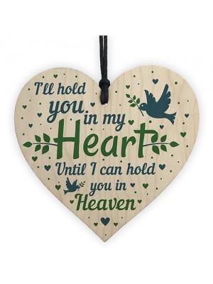 Mum Nan Dad Tribute Wood Heart Memorial Tree Decoration Plaque