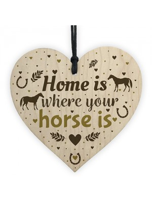 Horse Gifts Wooden Heart Cute Country Home Accessory Gift Sign