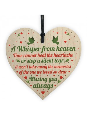 Miss You Always Mum Nan Dad Tribute Wood Heart Memorial Plaque