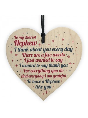 Nephew Birthday Card Christmas Card Wood Heart Gifts From Auntie