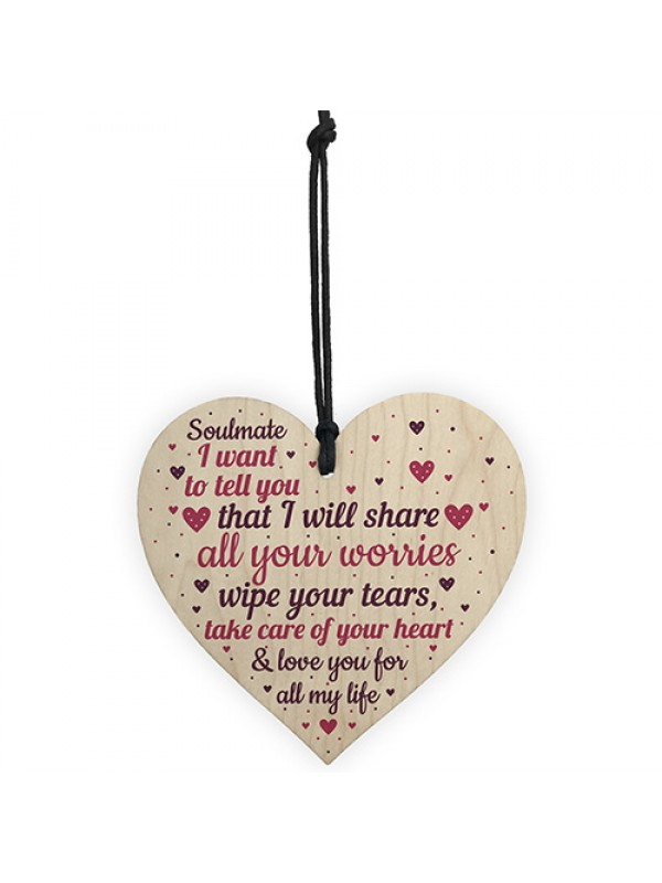 Soulmate Gifts Wood Heart Valentines Anniversary Birthday Gift