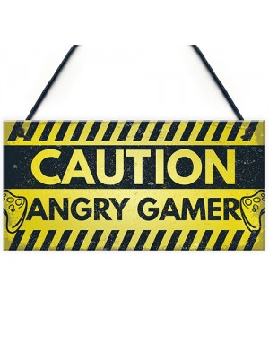 Caution Angry Gamer Door Sign Gamer Gifts Gamer Accessories