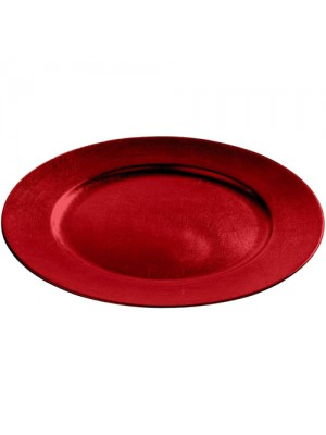 Set of 12 Decorative Charger Dinner Under Plates - Red