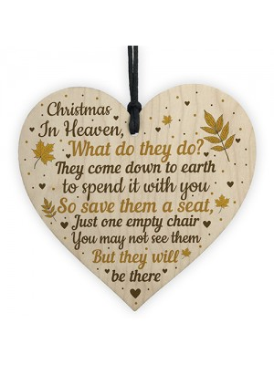 Christmas Memorial Bauble Wood Heart Tree Decoration Plaque Gift