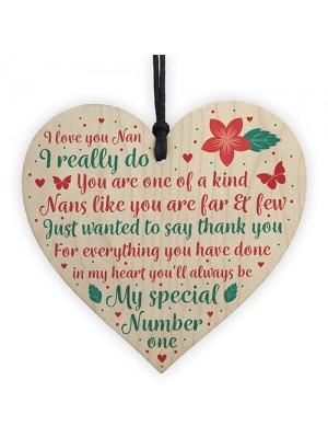 Nan Gift From Grandchildren Wood Heart Nanny Nan Nanna Plaque