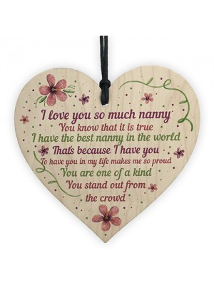Nan Gifts From Grandchildren Wooden Heart Nanny Nanna Plaque