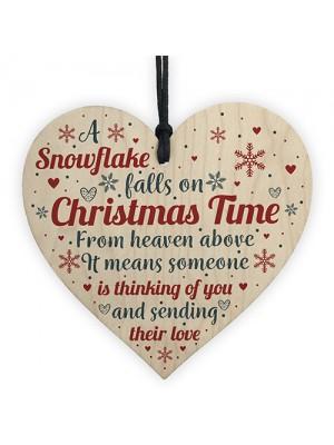 Mum Nan Dad Tribute Wood Heart Memorial Christmas Tree Plaque