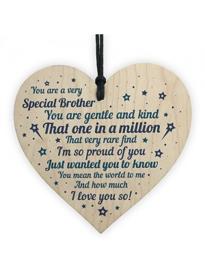 Brother Sister Birthday Gift Wooden Heart Brother Christmas Card