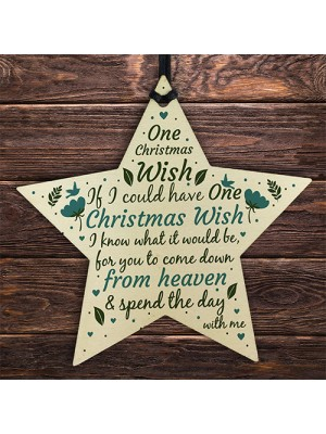 Christmas Wish Memorial Tree Bauble Decorations Wooden Star