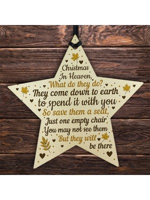 Christmas Memorial Bauble Wood STAR Tree Decoration Plaque