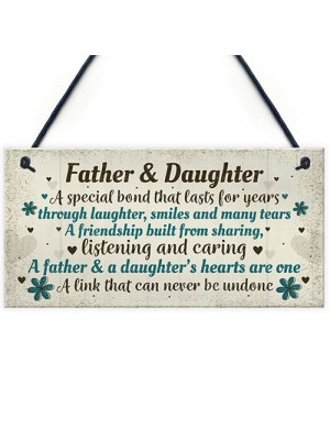 Father And Daughter Gift Plaque Father Gift From Daughter Xmas