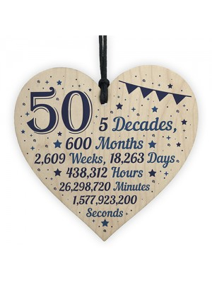 50th Birthday Christmas Gift For Dad Hanging Wooden Heart Plaque