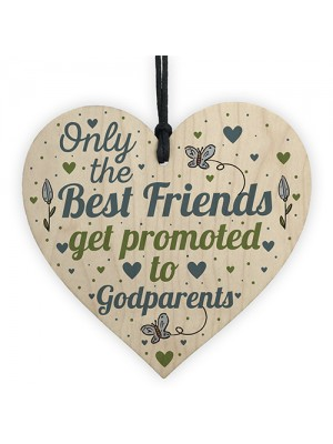 Best Friend Gift Godparents Gift For Christening Wood Heart Sign