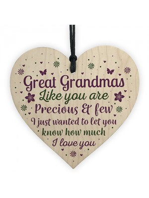 Great Grandparent Gifts Great Grandma Wooden Heart Plaque Gift
