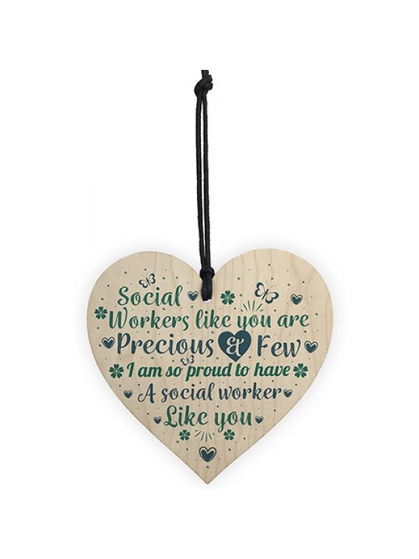 Social Worker Gift Wood Heart Thank You Gift For Friend Keepsake