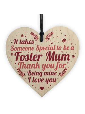 Christmas Gifts For Mum Thank You Wood Heart Foster Mum Gift
