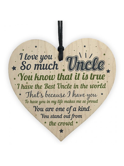Uncle Gifts For Birthday Christmas Wooden Heart Plaque Gifts