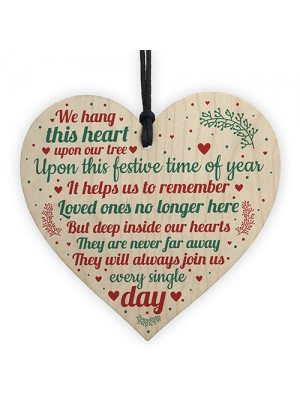 Wood Heart Christmas Tree Memorial Decoration For Mum Nan Dad