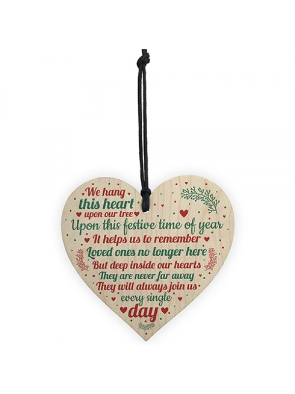 Wood Heart Christmas Tree Memorial Decoration For Mum Nan Dad