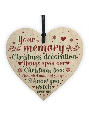 Mum Dad Nan Memorial Wooden Heart CHRISTMAS Tree Ornament