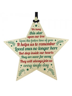 Christmas Memorial Bauble Tree Decorations Handmade Wooden Star