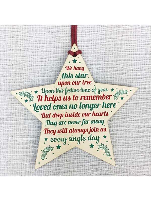 Christmas Memorial Bauble Tree Decorations Handmade Wooden Star