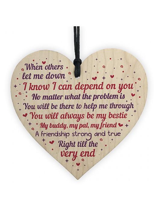 Best Friend Heart Friendship Sign Thank You Plaque Keepsake Gift
