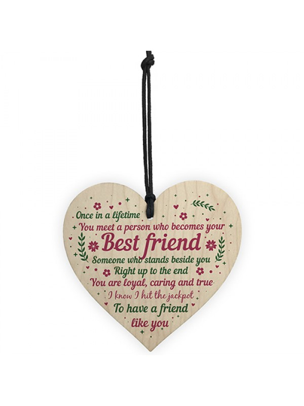 Best Friend Birthday Gifts Thank You Wooden Hanging Heart Plaque