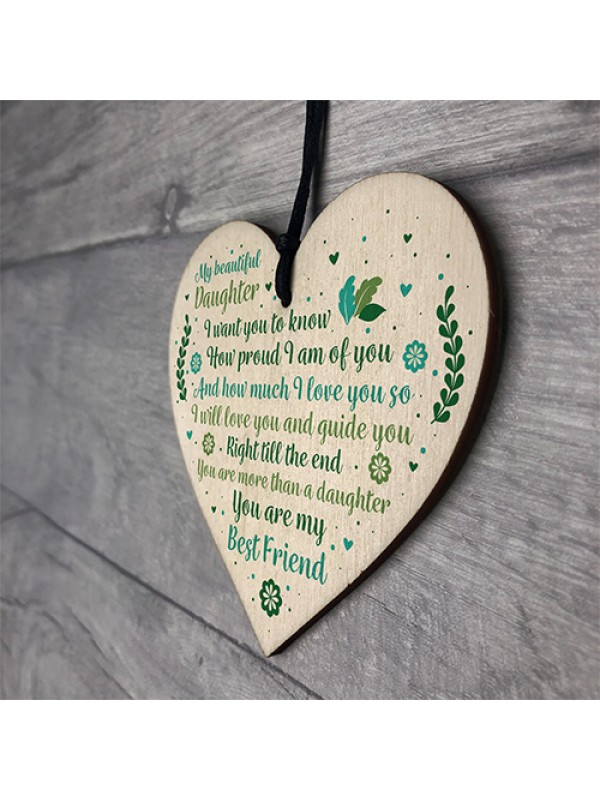 Mother And Daughter Keepsake Gift Plaque Wooden Heart Sign