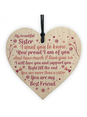 Sister Birthday Card Gift Wood Heart Sister Gifts For Christmas