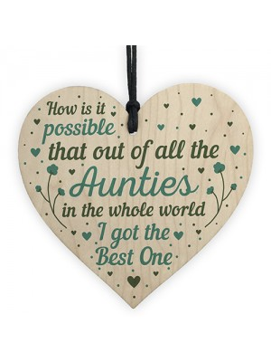 Auntie Gifts For Birthday Christmas Wooden Heart Auntie Card