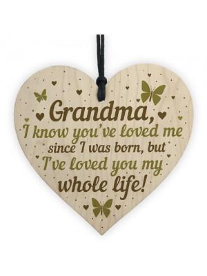 Grandma Birthday Christmas Card Gift Wooden Heart Keepsake