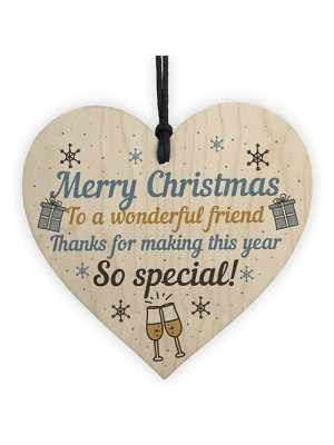 Christmas Friendship Friend Thank You Gift Wooden Heart Bauble