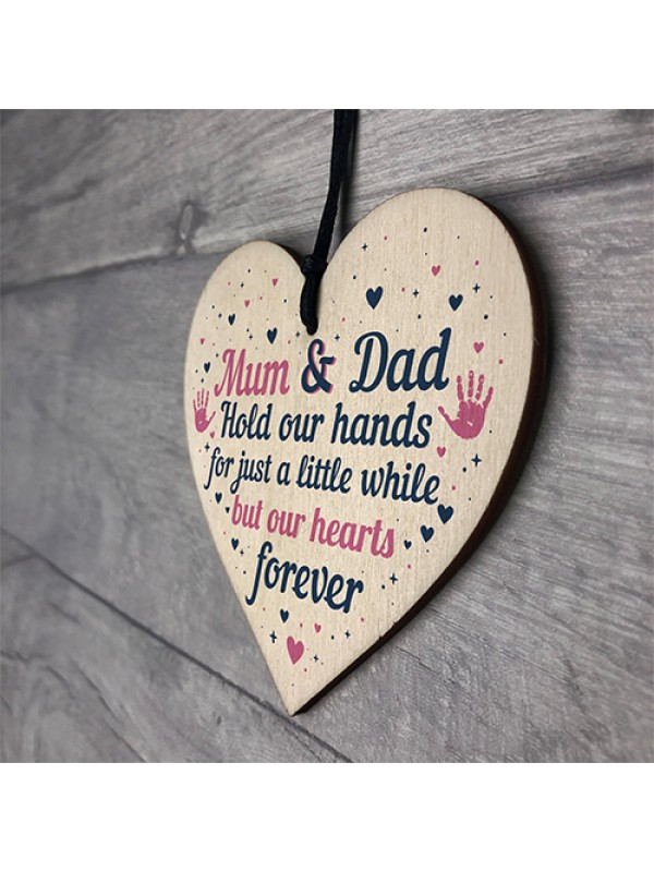 Mum And Dad Ornament Gift From Daughter Son Wooden Heart
