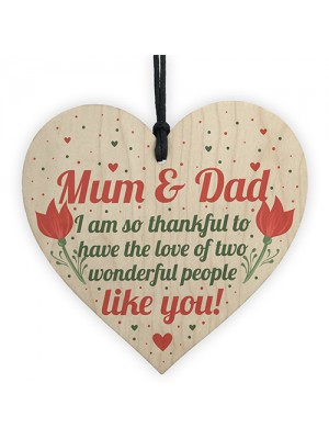 Mum And Dad Joint Gifts Wood Heart Birthday Christmas Thank You