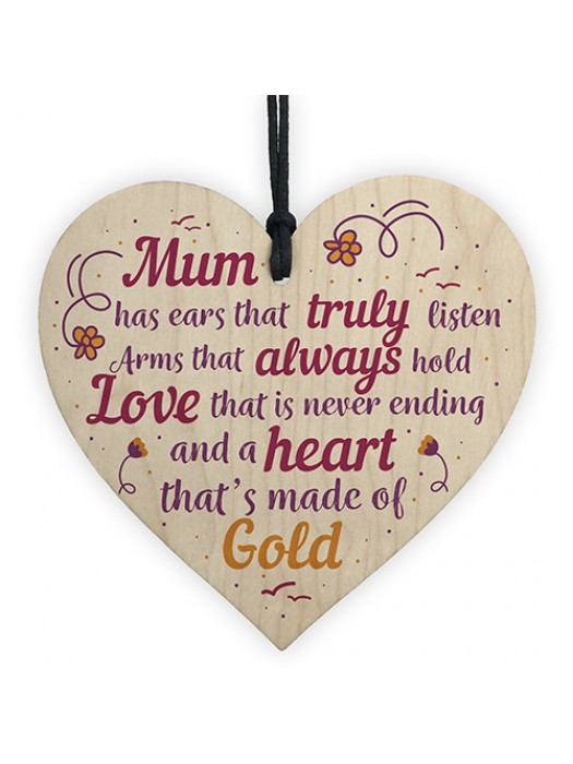 Mum Mummy Mother Christmas Gift From Daughter Son Wood Heart
