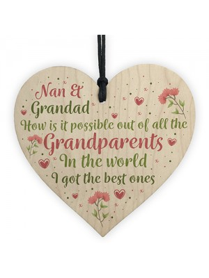 Nan Grandad Present Wood Heart Birthday Christmas Ornament Gift