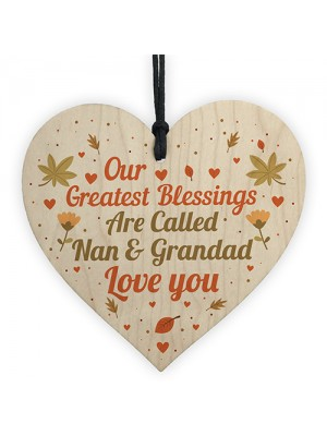 Special Nan Grandad Gift For Birthday Christmas Wood Heart Sign