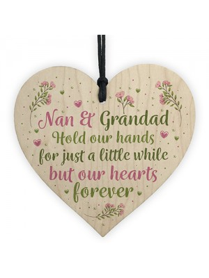 Nan And Grandad Ornament Wooden Heart Gift For Grandparents