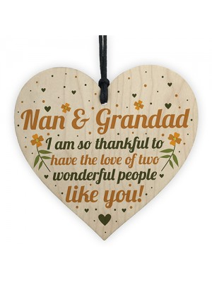 Birthday Christmas Gift For Nan And Grandad Wood Heart Thank You