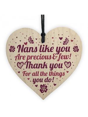 Thank You Birthday Christmas Gift For Nan Wooden Heart Nan