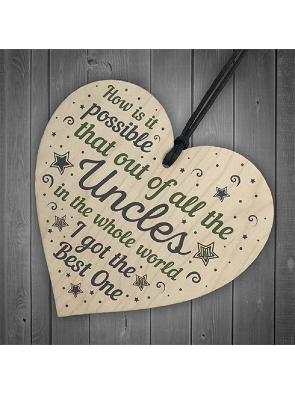 Uncle Gifts For Birthday Christmas Wooden Heart Uncle Ornament