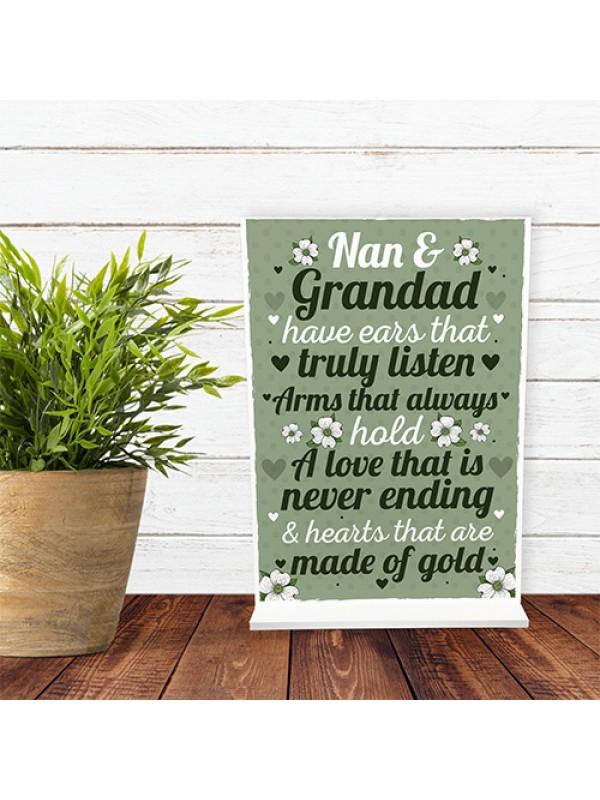 Grandparent Standing Plaque Birthday Christmas Gift For Nan