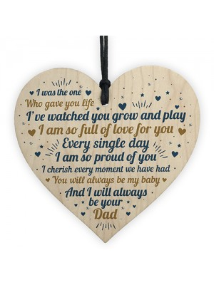 Handmade Daughter Son Gifts From Dad Wooden Heart Sign Keepsake