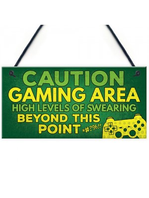 Caution Gaming Area Gamer Gift For Son Brother Bedroom Door Sign