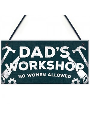 Dad's Workshop Funny Man Cave Sign Dad Gifts For Christmas