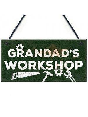 Grandads Workshop Funny Man Cave Sign Dad Gifts For Christmas