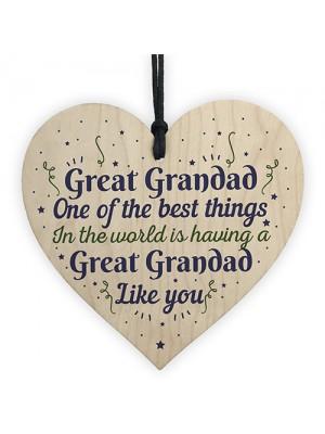 Great Grandad Grandfather Gift Wooden Heart Keepsake Gift