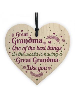 Great Grandma Grandmother Gift Wooden Heart Keepsake Gift